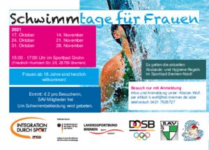 Aktueller Flyer der Bremer Frauenschwimmtage 2021