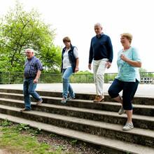Vier Menschen gehen draußen nebeneinander eine Treppe hinunter.