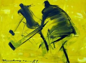 Mit wenigen Pinselstrichen hat Edith Hultzsch den abgebildeten Eishockeysspielern eine kraftvolle Dynamik verliehen. Foto: Hultzsch