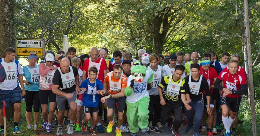 Start zum Volkslauf unter dem Motto Bewegung gegen Krebs in der Gemeinde Großseeham im Rahmen des Vereinswettbewerbs 2016; Foto: DOSB / SC Seeham