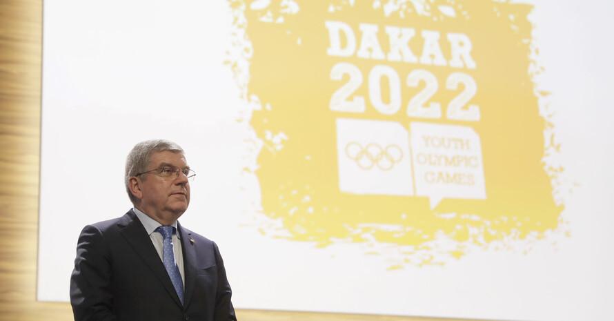 IOC-Präsident Thomas Bach bei der Vergabe der Youth Olympic Games nach Dakar 2022.  Foto: picture-alliance