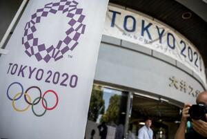 Am Eingang des Seaside Park Hockey Stadium prangt das Logo für die Olympischen Sommerspiele Tokyo 2020. Foto: picture-alliance