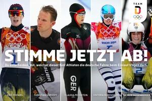 Diese fünf Athletinnen und Athleten stehen ab sofort zur Wahl, um am 9. Februar das Olympia Team Deutschland als Fahnenträger/in in das Olympiastadion zu führen. Foto: DOSB/picture-alliance