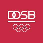 Weißes DOSB-Logo mit Olympischen Ringen