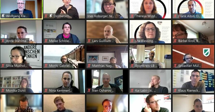 Screenshot von den Teilnehmenden an der digitalen Veranstaltung zum EVIs-Projekt