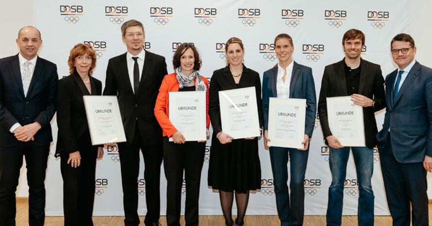 Preisträgerinnen und Preisträger des Wissenschaftspreises 2015/2016 im Haus des Sports. Foto: DOSB/Jan Haas