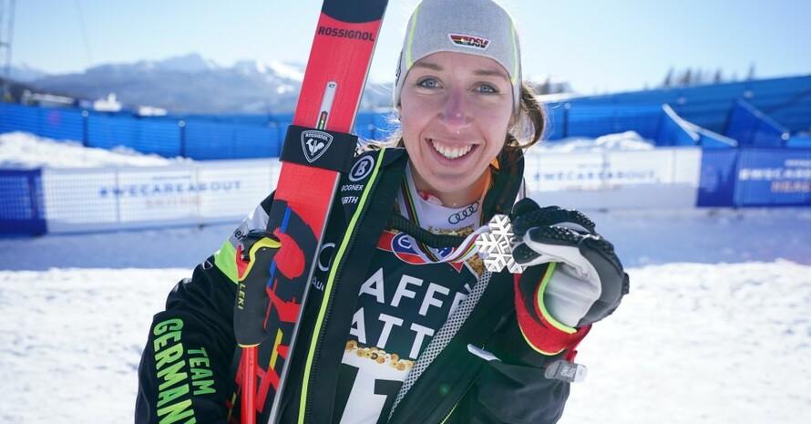 Kira Weidle gewinnt Silber bei der WM in Cortina d'Ampezzo. Foto: picture-alliance
