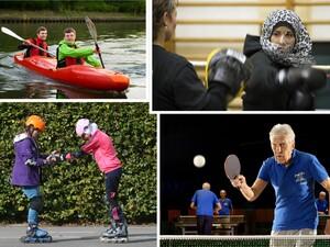 Collage der Bildthemen Inklusion, Integration, Gleichstellung und Sport der Älteren. Foto: DOSB