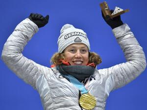 Laura Dahlmeier kann sich nicht nur über Gold freuen, sondern auch über eine Prämie der Deutschen Sporthilfe. Foto: picture-alliance