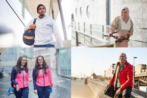 """Ruben Castro (von links oben), Fatma Polat, Samar und Ninar Al Khatib und Mohammed Nouali sind Teil der Kampagne """"Wo ich herkomme? Vom Sport!"""". Foto: Henning Heide"""