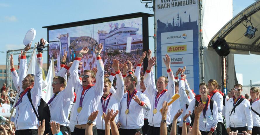 Die Ankunft der Deutschen Olympiamannschaft in Hamburg nach dem Olympischen Spielen 2012 in London. Foto: picture-alliance