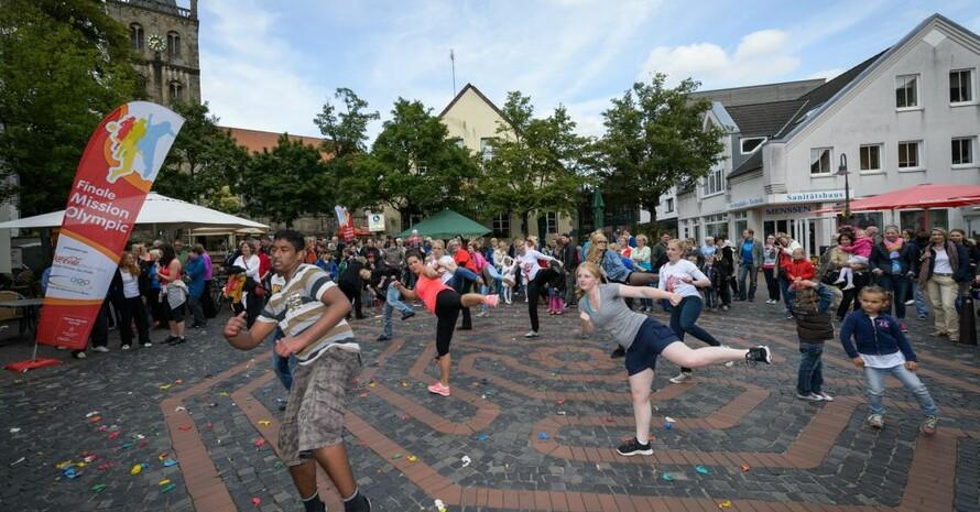 Auf dem Neumarkt sammelten die Bürgerinnen und Bürger von Ibbenbüren fleißig Aktivitätspunkte für ihre Stadt. Foto: Mission Olympic