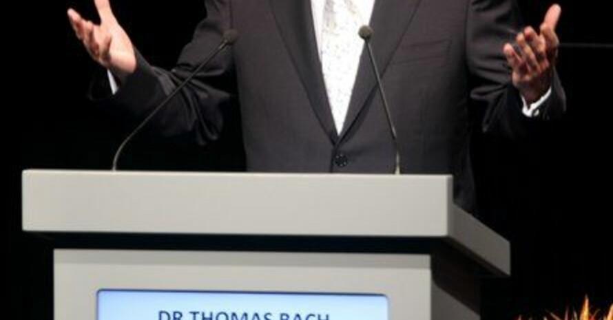 DOSB-Präsident und IOC-Vizepräsident Thomas Bach redet am Mittwoch (6.07.2011) bei der Präsentation Münchens während der 123. IOC-Session in Durban, Südafrika. Foto: picture-alliance