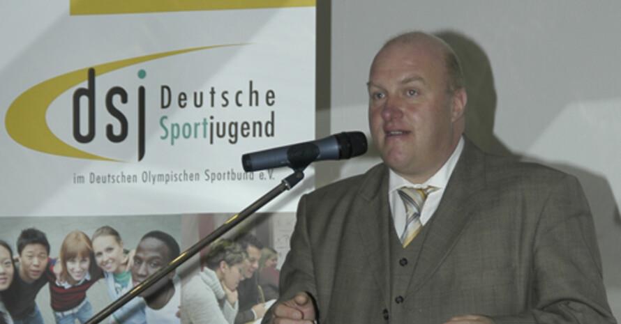 Der dsj-Vorsitzende Ingo Weiss beim Jugendhauptausschuss in Frankfurt am Main. Copyright: Dennis Buttler
