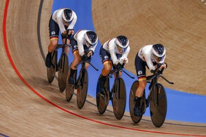 Mit Weltrekord fährt der deutsche Vierer mit Franziska Brausse, Lisa Brennauer, Lisa Klein und Mieke Kroeger zum Olympiasieg. Foto: picture-alliance