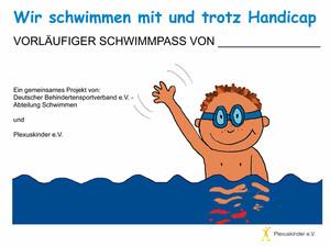 Im Schwimmpass werden Zeiten und absolvierte Übungen dokumentiert. Die fleißigsten Schwimmer werden zum Wettkampf in Remscheid eingeladen. Copyright: Plexuskinder.de