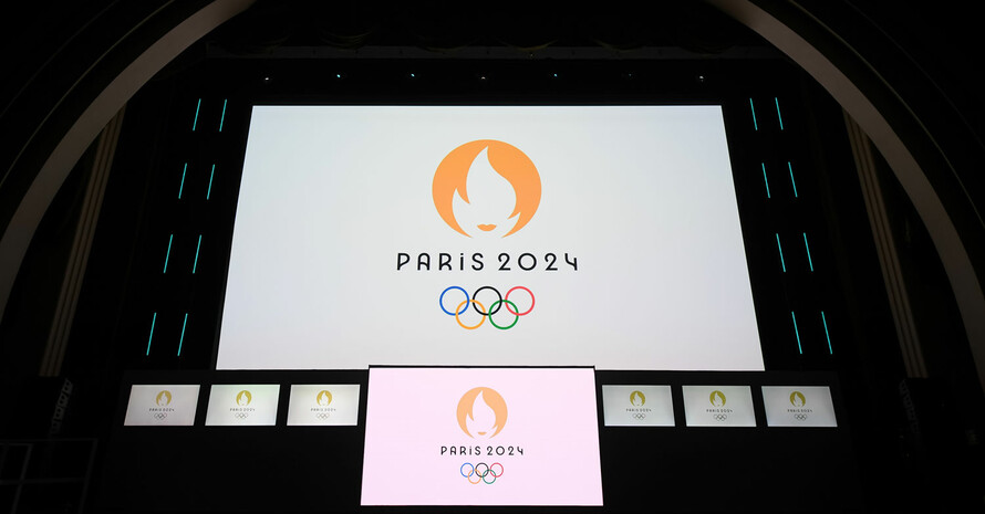 Die Enthüllung des neuen Logos am Montag Abend in Paris. Foto: IOC