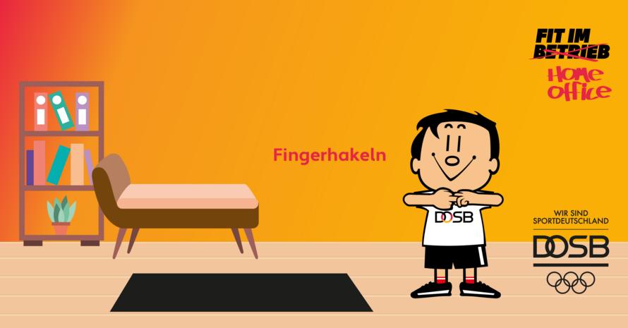 Trimmy macht die Übung Fingerhakeln im Home Office. Im Hintergrund ist ein Sofa und ein Regal zu sehen.