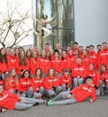 Teilnehmer und Teilnehmerinnen des Olympischen Jugendlagers mit ihren Betreuern in Südkorea. Foto: DOJL