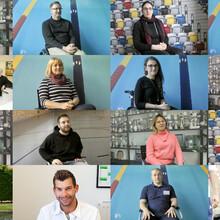 In jeweils einzelnen Quadraten sind die Fotos der über 20 Frauen und Männer, die als Sport-Inklusionsmanager*in im Projekt beschäftigt waren.