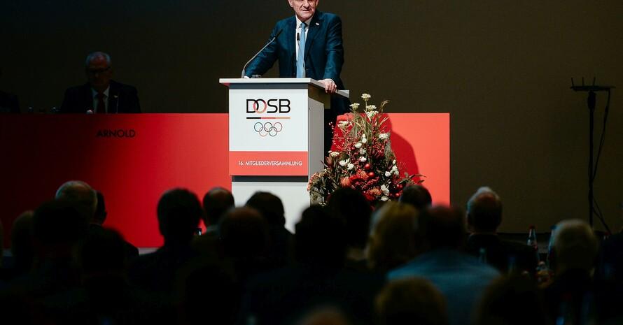 Alfons Hörmann auf der Mitgliederversammlung des DOSB 2019. Foto: DOSB/Jan Haas