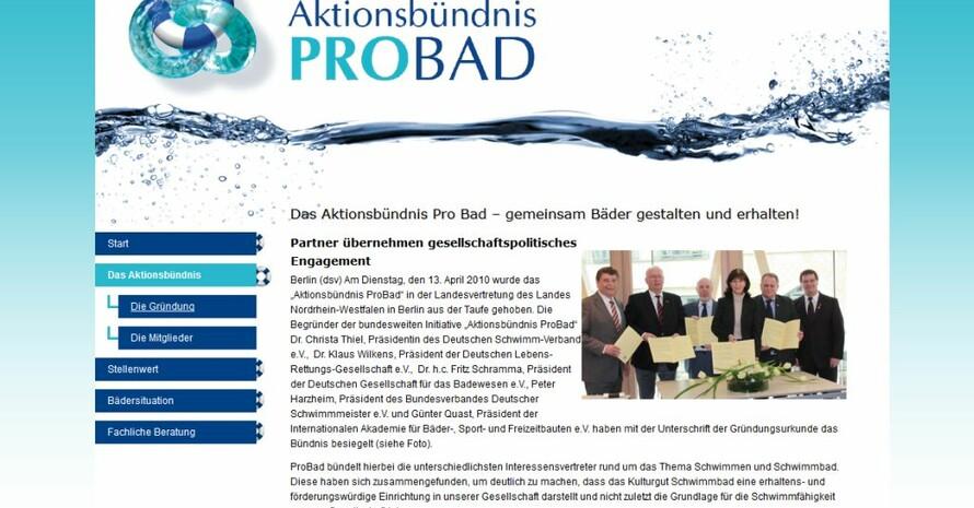 Das Aktionsbündnis Pro Bad will die Schwimmbäder zukunftsfähig machen. Foto: Screenshot von der Website www.probad.info