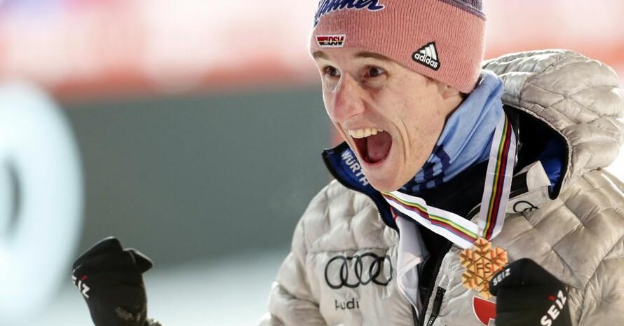 Karl Geiger wird bei der Skiflug-WM in Planica Weltmeister. Foto: picture-alliance