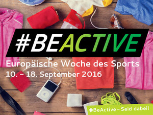 Zur Europäischen Woche des Sports wird es in Deutschland 260 Veranstaltungen geben. Logo: Be Active - Europäische Woche des Sports