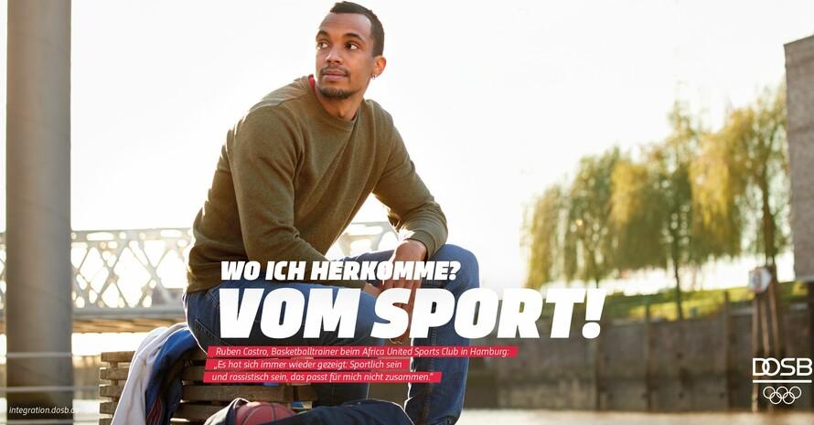 Die Motiv-Reihe startet mit dem ehemaligen Basketballer Ruben Castro vom Verein Africa United. Foto: DOSB