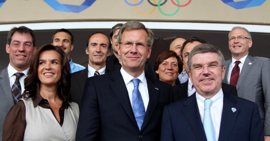 Die Münchner Delegation mit Bundespräsident Christian Wulff in Durban. Foto: picture-alliance