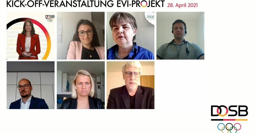 Screenshot des Livestreams während der Podiumsdiskussion. Es sind sechs Teilnehmer*innen der Diskussion sowie die Moderation zu sehen. Rechts unten ist das DOSB-Logo abgebildet. Die Überschrift lautet Kick-Off-Veranstaltung EVI-Projekt 28. April 2021.