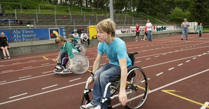 Daniel bei seinem erfolgreichen Sprint über 50 Meter. Foto: LSBNRW