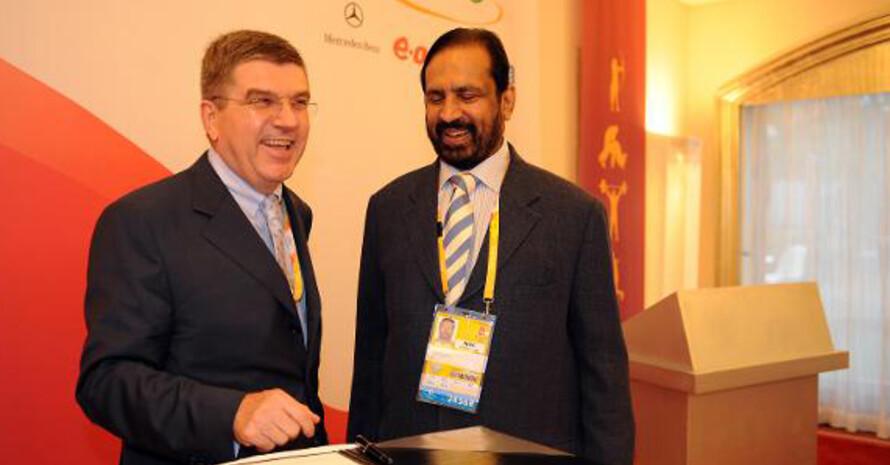 DOSB-Präsident Thomas Bach mit Suresh Kalmadi.