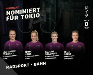 Die Bahn-Radsportlerinnen sind vier von insgesamt 94 Athlet*innen der 3. Nominierungsrunde des DOSB für Tokio. Foto: picture-alliance