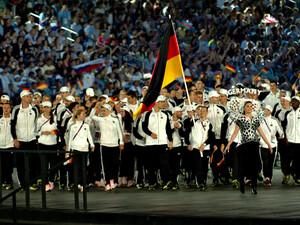Einmarsch des Team Deutschland ins Stadion bei den 1. Europaspielen in Baku 2015. Foto: DOSB
