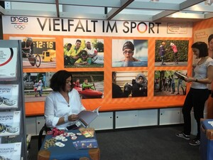 """Die Vielfalt im Sport ist das umfassende Thema des Bundesprogramms """"Integration durch Sport"""" auf der Frankfurter Buchmesse 2019. Foto: DOSB"""