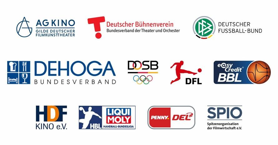Die Logos der Verbände aus den Bereichen Kultur, Gastronomie und Sport, die in der Pandemie die Gesundheitsbehörden bei Erfassung und Nachverfolgung von Kontakten unterstützen wollen.