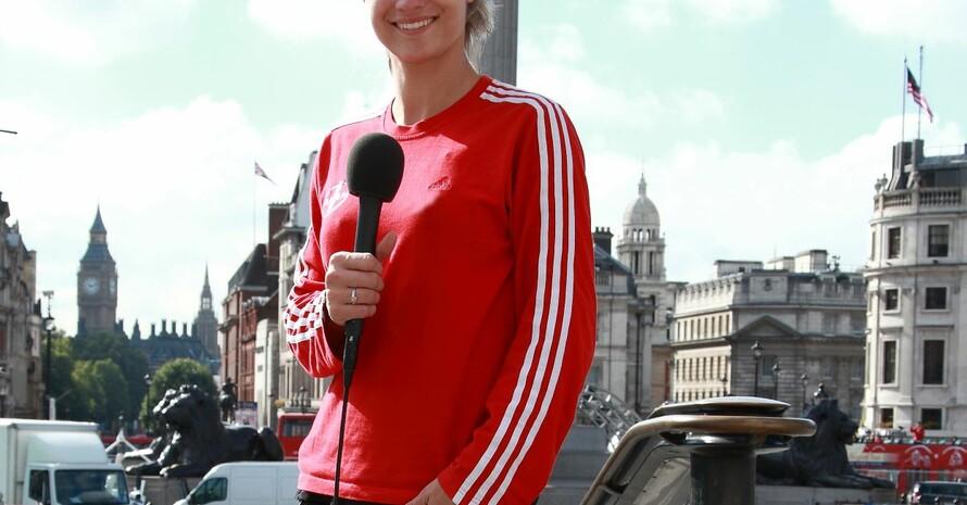 Fechterin Britta Heidemann berichtet bei Vision Gold aus London. Foto: Schmidt Media/N24
