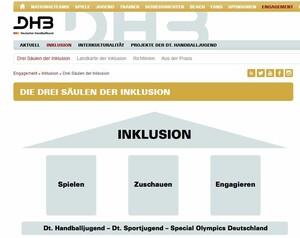 Der DHB sieht Inklusion als ein Gewinn für den Handball und die Gesellschaft. Foto: Screenshot von der Website www.dhb.de