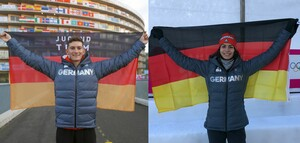 Curler Benjamin Kapp und Rodlerin Jessica Degenhardt führen als Fahnenträger das deutsche Team bei der Eröffnungszeremonie in Lausanne und St. Moritz. Foto: DOSB