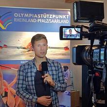 Ruderer Moritz Moos beim Medienseminar
