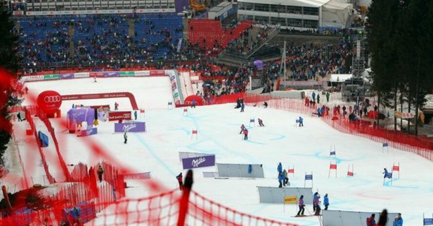 Der Zielbereich der Kandahar-Abfahrt in Garmisch-Partnekirchen bei der Ski-WM 2011. Foto: picture-alliance