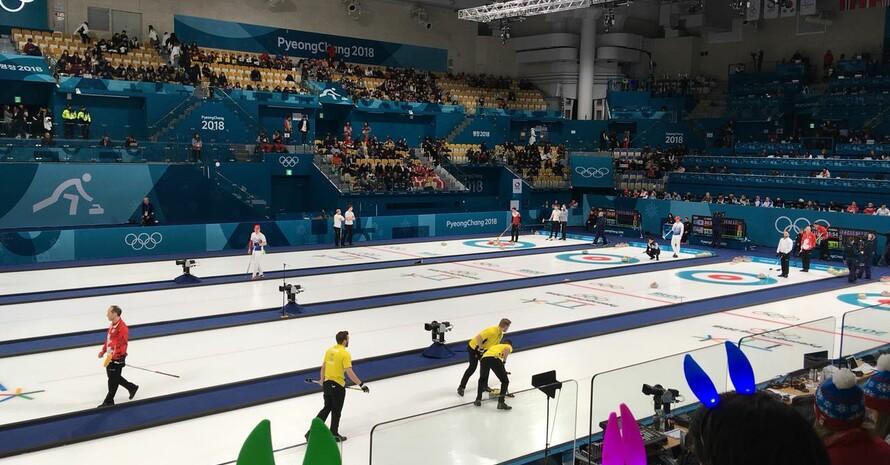Vier Partien gleichzeitig gab es beim Curling zu sehen.