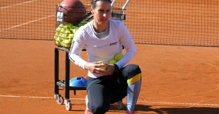 Tennistrainerin Eva Birkle-Belble übt ihren Traumberuf aus. Foto: DTB