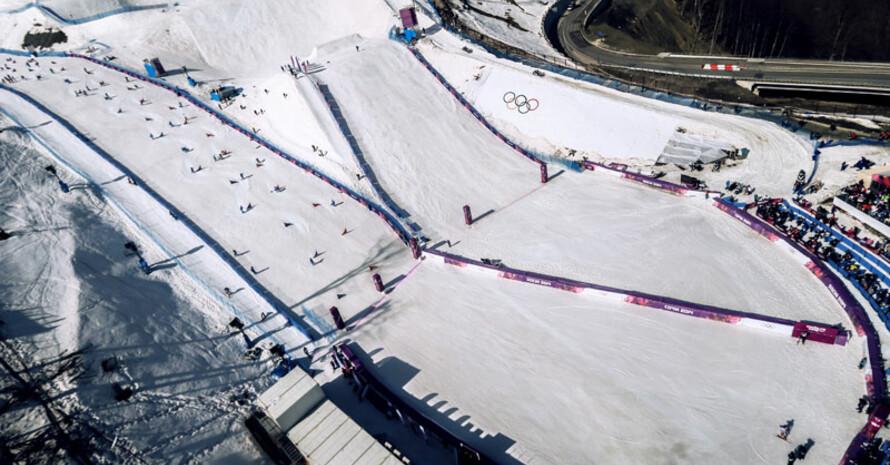 Der Extreme Park in Rosa Khutor bot beste Bedingungen für Snowboarder un Ski-Freestyler. Foto: picture-alliance
