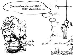 Der Alpin-Cartoonist Erbse unterstützt die DAV-Kampagne mit einem Trailer. Foto: DAV/Erbse