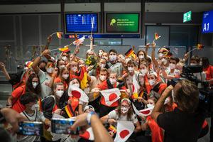 Euphorischer Empfang von Team D am Flughafen Frankfurt am Main, Foto: DOJL
