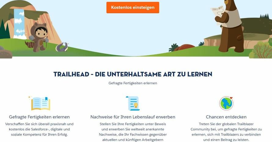 """Über seine Online-Lernplattform """"Trailhead"""" wird Salesforce die Weiterqualifizierung der Athlet*innen des Team Deutschland während und nach ihrer sportlichen Karriere unterstützen. Foto: Screenshot """"Trailhead"""""""