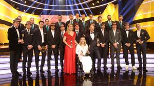 Alle Preisträger zum Sportler des Jahres 2018 auf der Bühne im Kurhaus Baden-Baden. Foto: picture-alliance