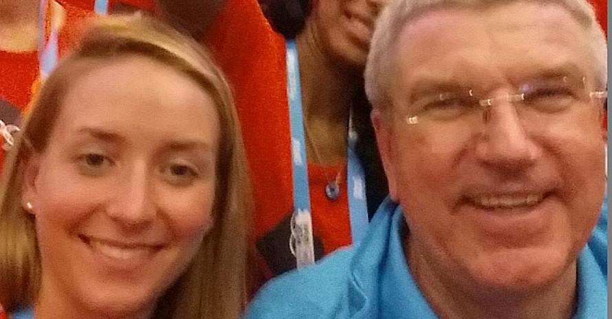 #YOGSelfie: Unsere Juniorbotschafterin Marlene Gomez Islinger mit IOC-Präsident Thomas Bach. Foto: DOSB